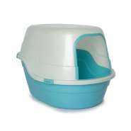 Gardner Cat Litter Pan w/Hood & Door Trim Blue 25.6x17.7x17""