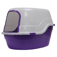 Gardner Cat Litter Pan w/Hood & Door Trim Purple 25x18x17""