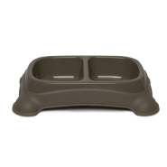 Gardner Double Feeder Bowl Taupe MED