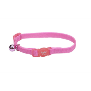 SafeCat Adj Nyl Bkwy Collar Bright Pink 12""
