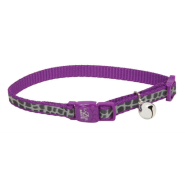 "LazerBrite Refl Bkwy Cat Collar 12"" Purple Animal Print"