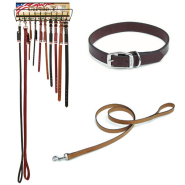 Circle T Oak Tanned Leather Collar and Leash Display