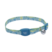 "SafeCat Adj Breakaway Collar Magnetic Buckle 12"" TealPecock"