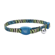 Safe Cat Breakaway Collar Teal Zebra 3/8x12""