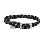 ElastaCat Reflective Safety Collar w/Charm Blk/Green 10""