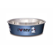 Bella Bowls Medium I Love My Dog Steel Blue